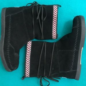 TOMS Fleece-Lined Suede Booties w Wrap and Ribbon